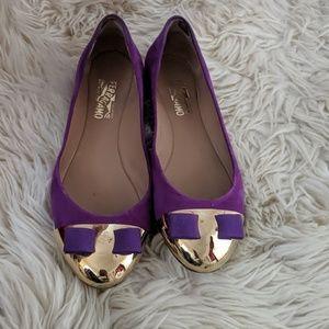 Purple and gold Ferragamo flats 10